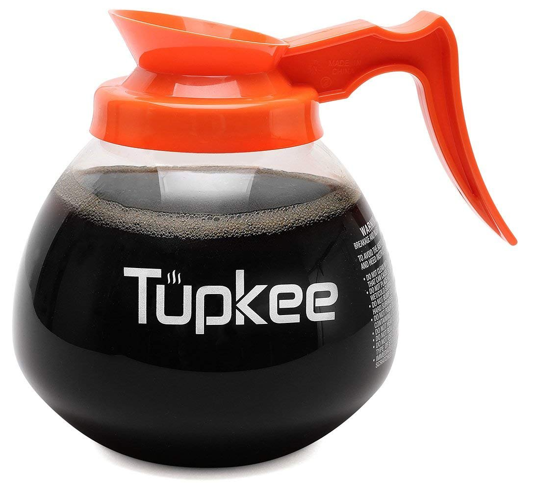 Tupkee Commercial Coffee Pot Replacement - Restaurant Glass Coffee Pots 12 Cup Decanter Carafe - 64 oz. 12-Cup, Orange Handle / Decaf