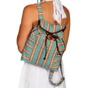 Scully Handbag Womens Stripe Backpack Snap One Size Turquoise C10