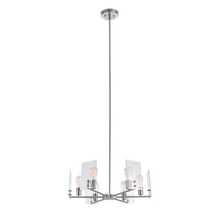 Globe Electric Cleve 6-Light Brushed Nickel Chandelier with Clear Beveled Glass Panes, 60369