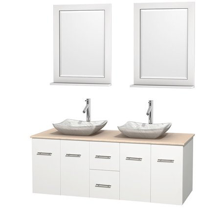 Wyndham Collection Centra 60 inch Double Bathroom Vanity in Matte White, White Carrera Marble Countertop, Pyra Bone Porcelain Sinks, and 24 inch