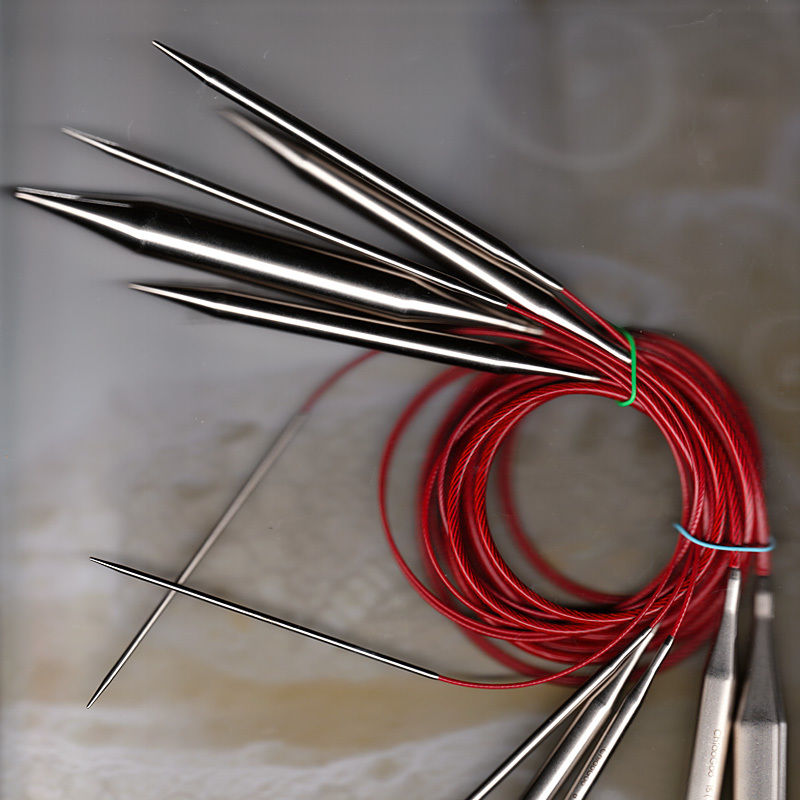 """ChiaoGoo Stainless Steel Red Lace Circular Knitting Needles; 47"""" (120 cm); US 7 (4.5 mm)"""