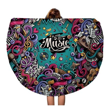 POGLIP 60 inch Round Beach Towel Blanket Music Cartoon 3D Doodles Musical Colorful Detailed Lots Abstract Travel Circle Circular Towels Mat Tapestry Beach Throw - image 1 de 1