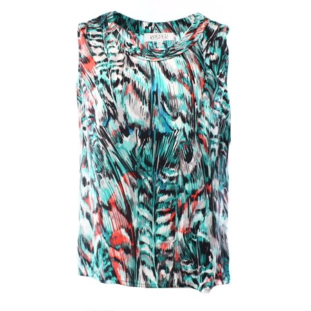 Kasper NEW Jade Green Black Women's Medium M Abstract Printed Blouse $59 #033