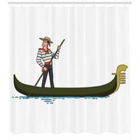 Cartoon Decor Shower Curtain Set, Illustration Of Gondola In Romance City Venice European Symbol Of Love Italian Decor, Bathroom Accessories, 69W X 70L Inches, By Ambesonne