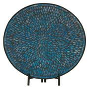 Unique Metal Blue Mosaic Platter With Easel
