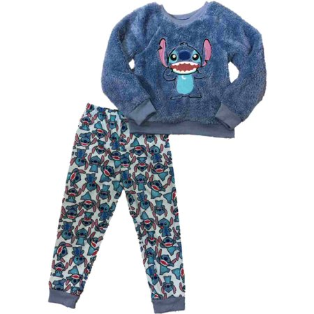 baf0c0d711b1 Disney - Girls Disney Blue Lilo   Stitch Fuzzy Sweater Pajamas Silly Sleep  Set - Walmart.com