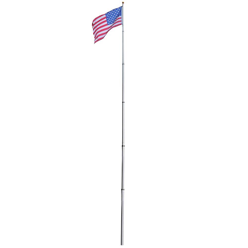 20/' Flag Pole Aluminum Telescopic Flagpole Kit US Flag Fly 2 Flags,w// 1 USA Flag