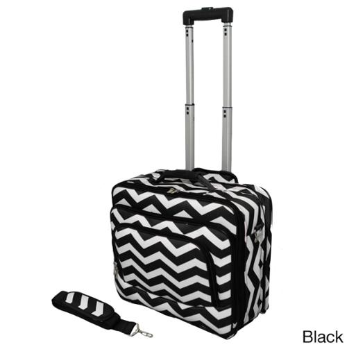 World Traveler Chevron Collection Rolling Computer Bag Laptop Business Case Black White