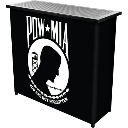 POW Metal 2-Shelf Portable Bar Table with Carrying Case
