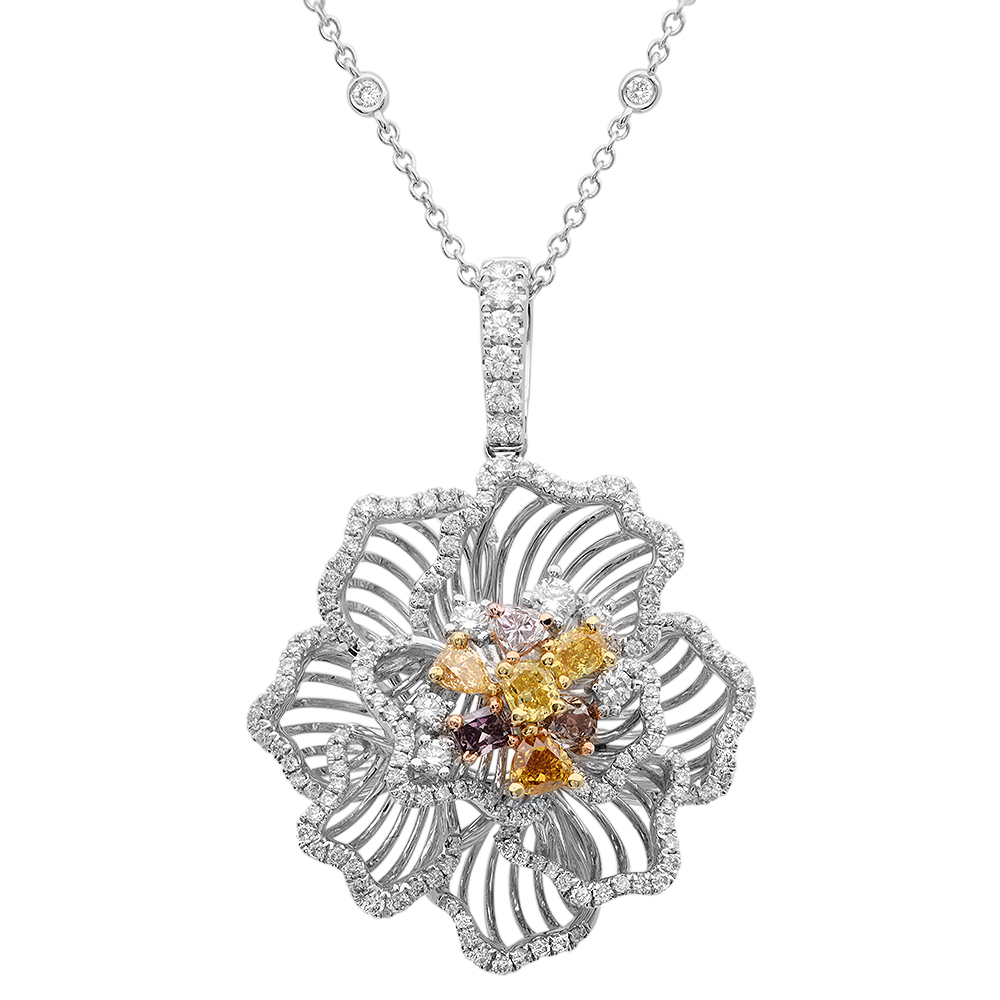 18K THREE TONE GOLD 1.95CTW DIAMOND AND PINK DIAMOND AND MULTICOLOR DIA PENDANT by