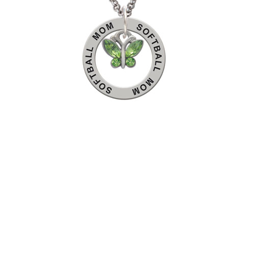 Mini Butterfly with Green Wings & Crystals Softball Mom Affirmation Ring Necklace