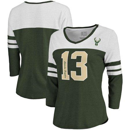 designer fashion 72adb 04637 Malcolm Brogdon Milwaukee Bucks Fanatics Branded Women's Starstruck Name &  Number Tri-Blend 3/4-Sleeve V-Neck T-Shirt -