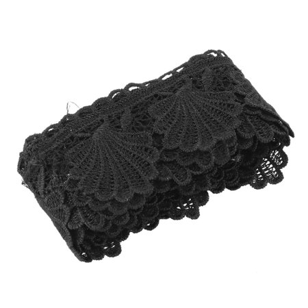 Lace Embellishment (Home Polyester Clothes Skirt Embellishment Hand Sewing Lace Trim Black 2.2)