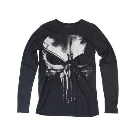 Daredevil Distressed Punisher Adult Thermal Long Sleeve T-Shirt Tee (Punisher Shirt)