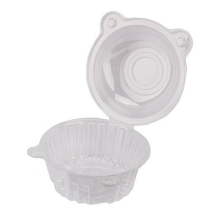 100pcs Single Clear Plastic Cupcake Box Bowl, Portable Cake/ Dessert /Ice Cream Cases Plastic Holders Disposable Domes Cups Boxes Pods, Cat Shape with Snap - Plastic Ice Cream Bowls