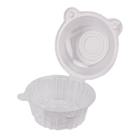 Individual Fruit Bowl (100pcs Single Clear Plastic Cupcake Box Bowl, Disposable Domes Fruit Dessert Cups Boxes Pods, Portable Cake/ Dessert /Ice Cream Cases Plastic Holders )