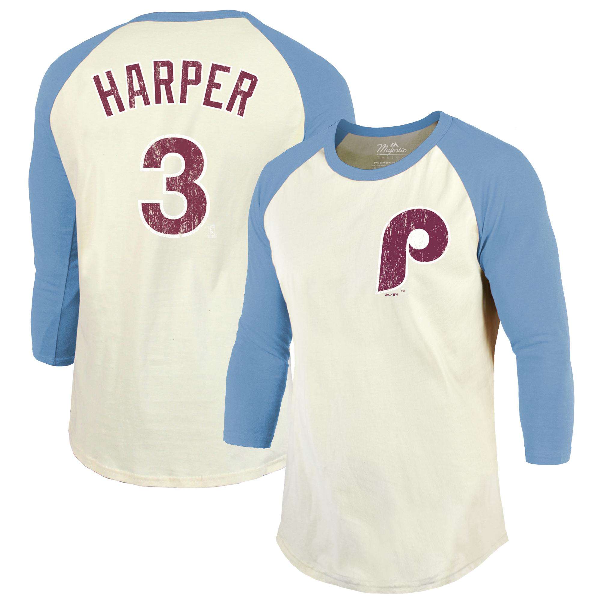 Bryce Harper Philadelphia Phillies Majestic Threads Softhand Name & Number Raglan 3/4 Sleeve T-Shirt - Cream