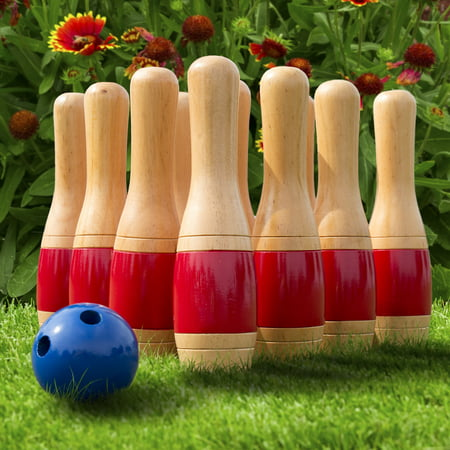 Lawn Bowling Game Skittle Ball Indoor And Outdoor Fun For Toddlers Kids Adults A 10 Wooden Pins 2 Balls Mesh Bag Set By Hey Play 11 Inch