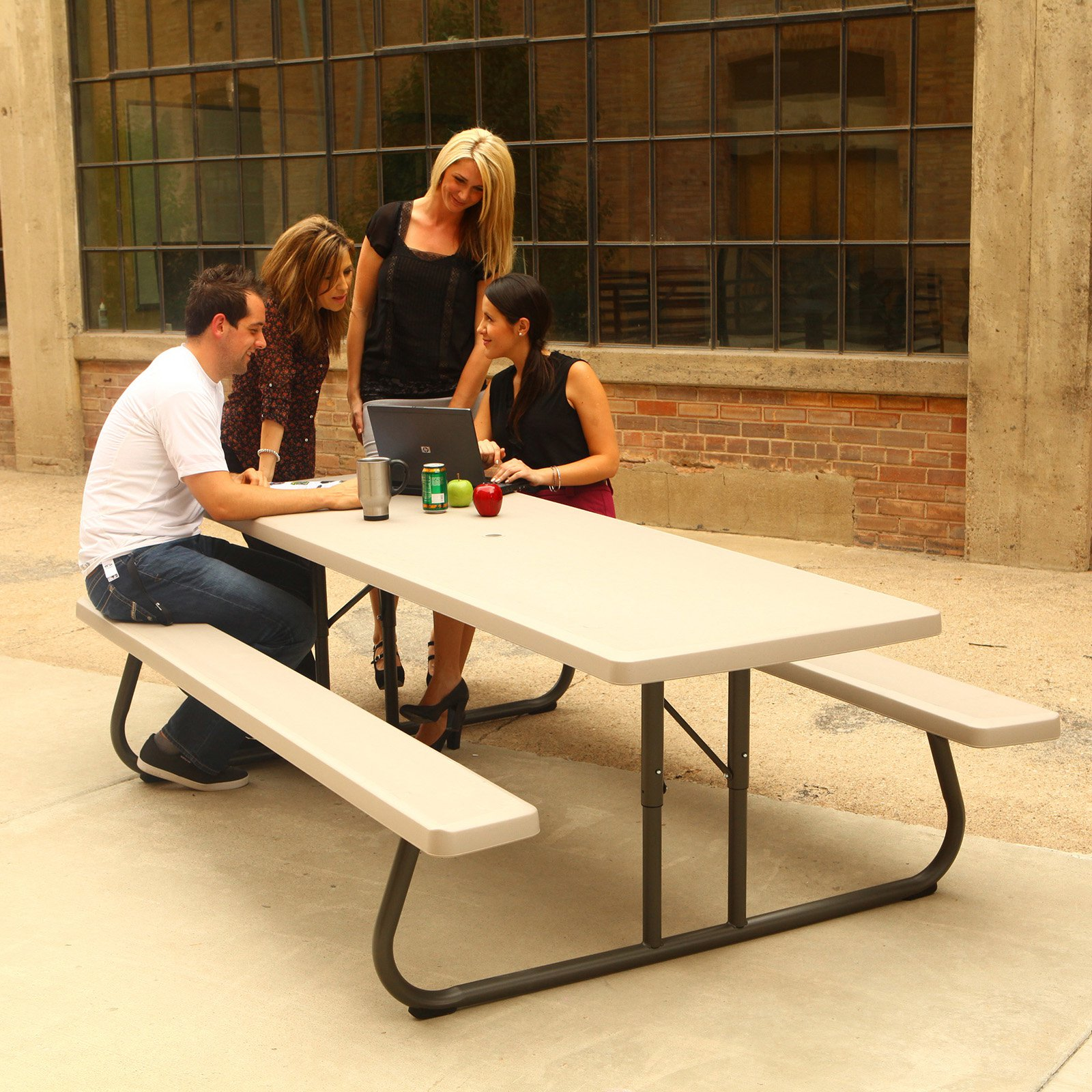 Lifetime 8-Foot Classic Folding Picnic Table, Almond, 80123 by Lifetime Products