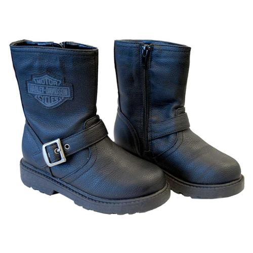Harley-Davidson Boy's Pleather Biker Boot, Side Buckle, Black 4275064 4285064, Harley Davidson by SGI