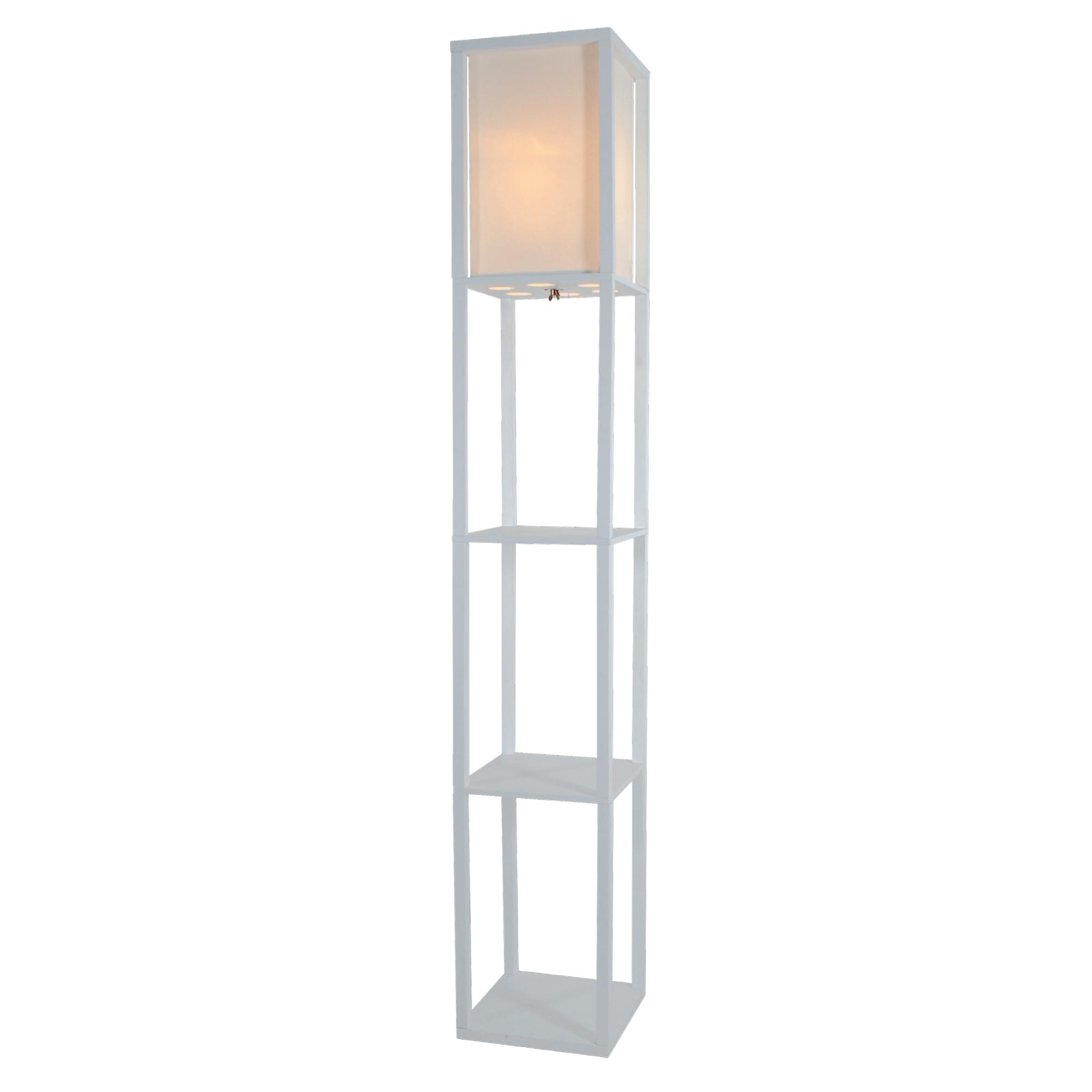 Wooden Shelves Floor Lamp With White Linen Shade White