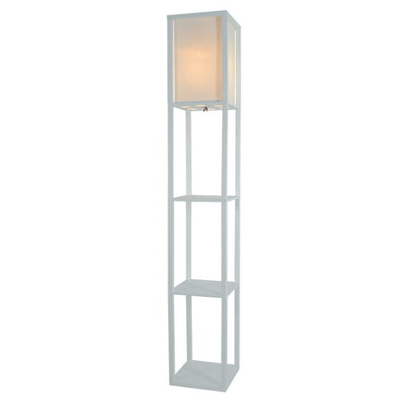 Wooden shelves floor lamp with white linen shade white for Floor lamp with shelves