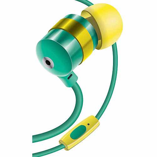 GOgroove audiOHM HF Stereo Earbuds with Hands-Free Microphone, Noise Isolation and Included Velvet Carrying Bag, Emerald Green