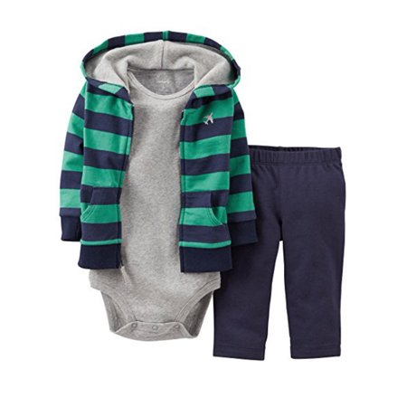 Carters Infant Boys 3 Piece Striped Airplane Outfit Sweat Pants Creeper & Hoodie