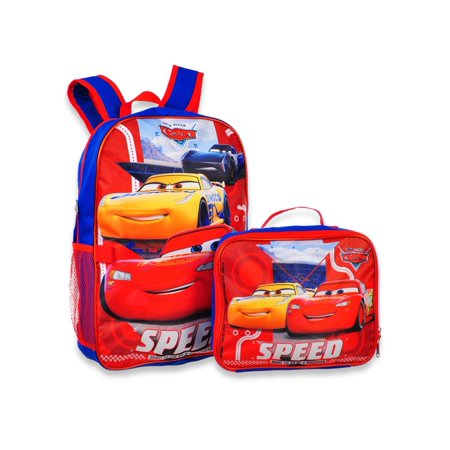 "Group Ruz Cars Jackson & Lightning McQueen 16"" Backpack W/ Detachable Lunch Box"