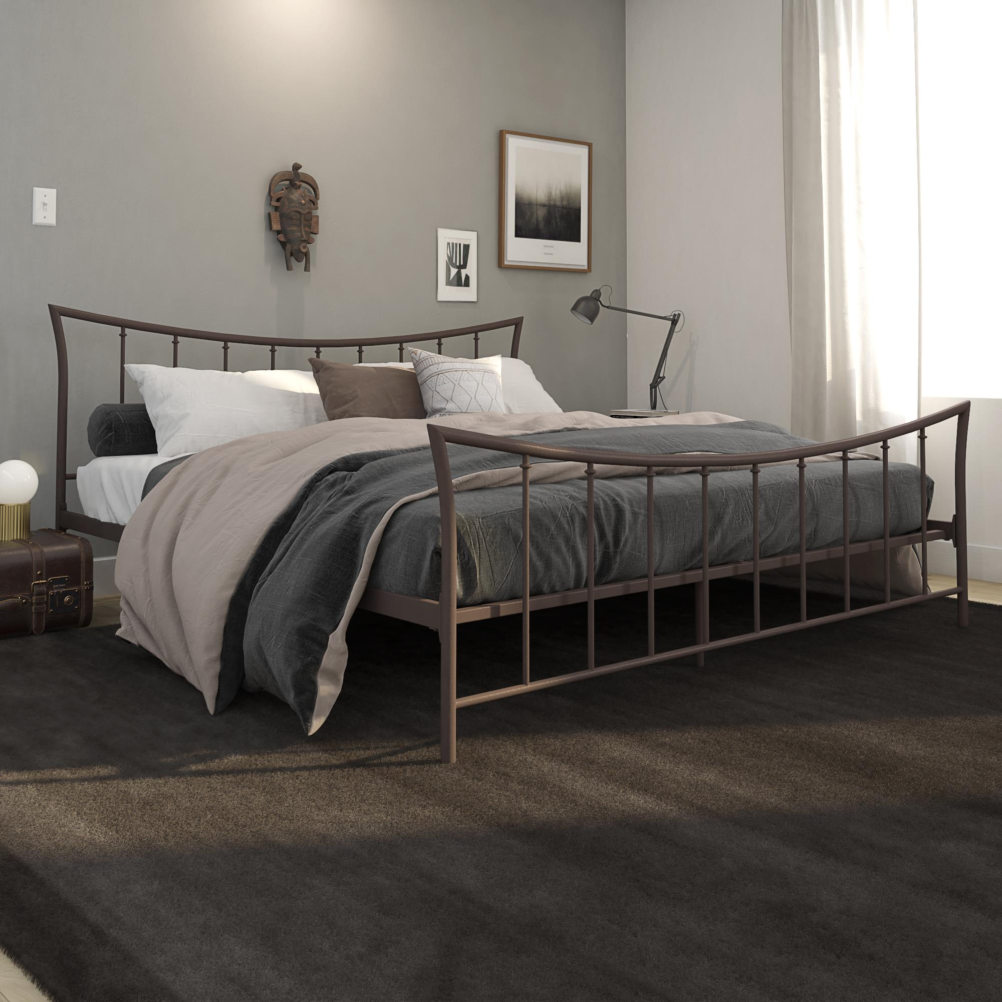 Brushed Bronze Sturdy Metal King Size Bed Frame Curved