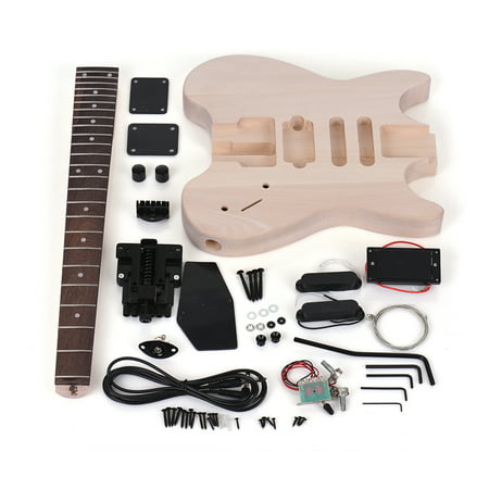 Muslady Unfinished DIY Electric Guitar Kit Basswood Body Rosewood Fingerboard Maple Neck Special Design Without Headstock