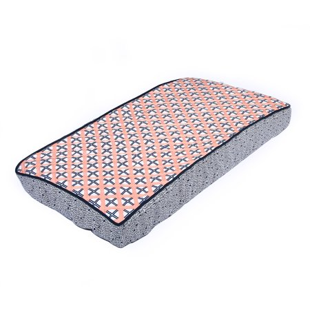Bacati - Noah Tribal Quilted Top 100% Cotton Percale with Polyester Batting Diaper Changing Pad Cover, Coral/Navy Dot/Cross