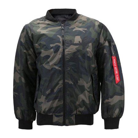 Men's Premium Multi Pocket Water Resistant Padded Zip Up Flight Bomber Jacket (Camo - Black, S)