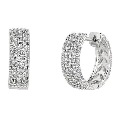 Harry Chad HC10820 1 CT Diamonds White Gold 14K Pave Hoop Earrings - Color G-H - VS2 & SI Clarity - image 1 of 1