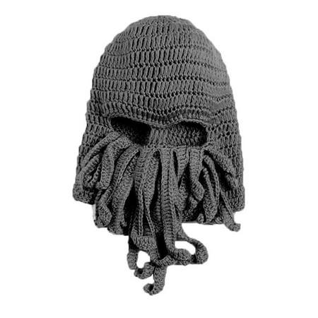 Generic LOCOMO Tentacle Octopus Cthulhu Knit Beanie Hat Cap Wind Ski Mask FFH135GRY](Windy Hat)
