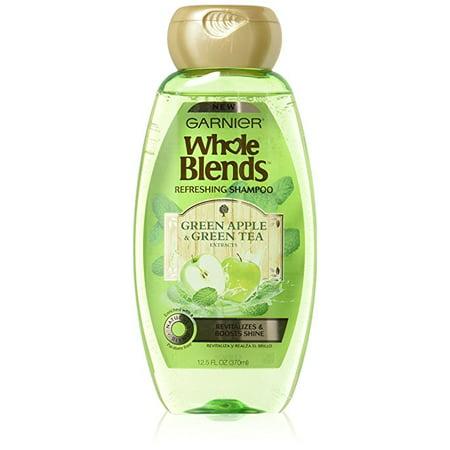 (2 Pack) Garnier Whole Blends Shampoo, Green Apple & Green Tea Extracts, 12.5 Fl Oz