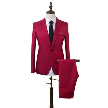 2Pcs Men's Blazer Suit Slim Fit Tuxedo Coat Pants Formal Wedding Groom thumbnail