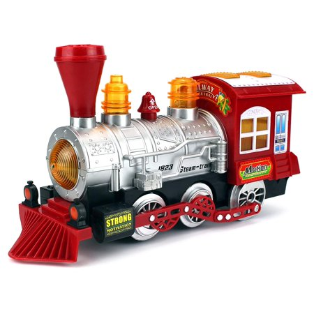 Steam Train Locomotive Engine Car Bubble Blowing Bump & Go Battery Operated Toy Train w/Lights & Sounds - Train Whistle Sounds