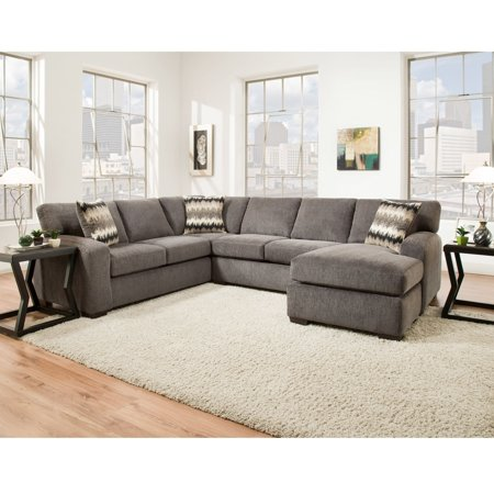 Sofatrendz eleanor smoke grey fabric deeply padded for Cody fabric 5 piece l shaped sectional sofa