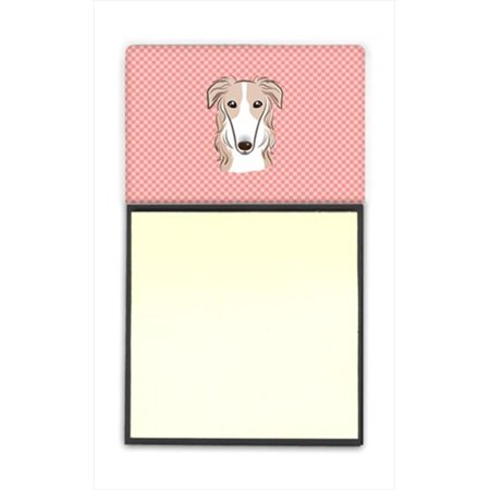 Checkerboard Pink Borzoi Refiillable Sticky Note Holder Or Postit Note Dispenser, 3 x 3 In.