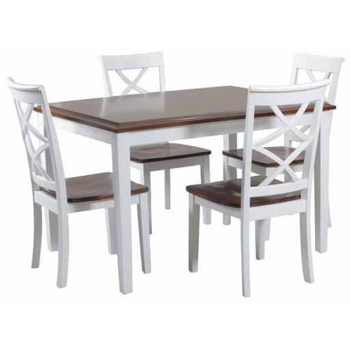 Powell Harrison 5 Piece Dining Set, Cherry and White