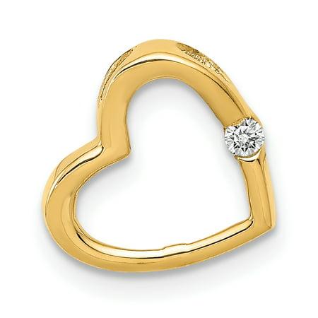 14K Yellow Gold AA Diamond Heart Chain Slide