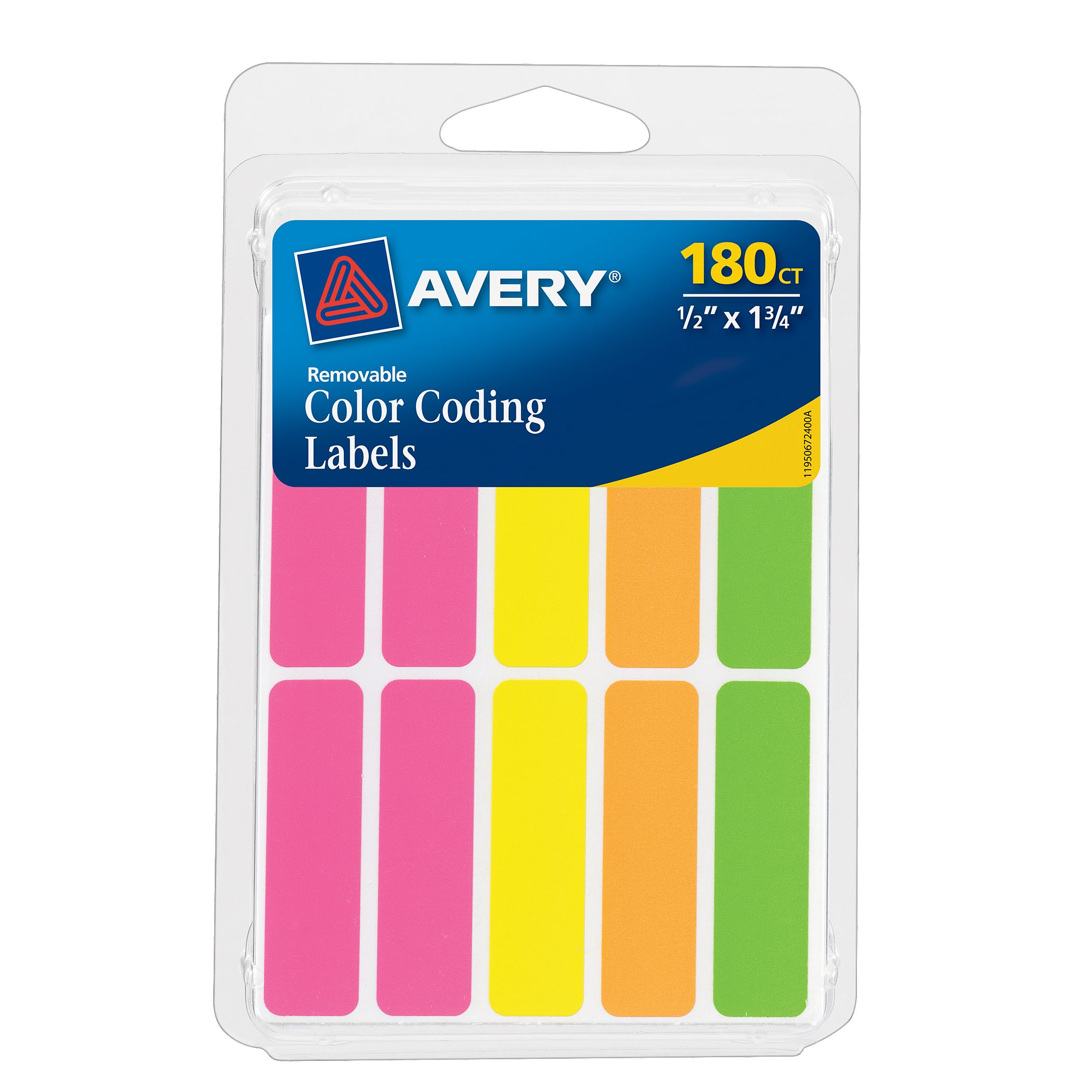 "Avery Neon .5""x1.75"", Asst Colors, 180ct"