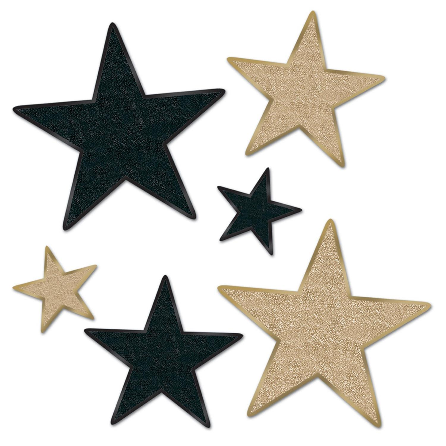 "72-Piece Black and Gold Glittered Foil Star Cutouts Party Decorations 5""-12"""