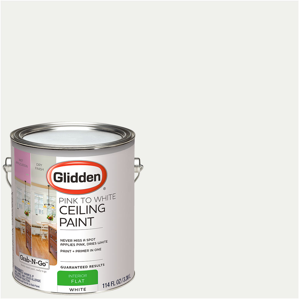 Glidden Ceiling Paint, Grab N Go, Pink To White, Flat Finish