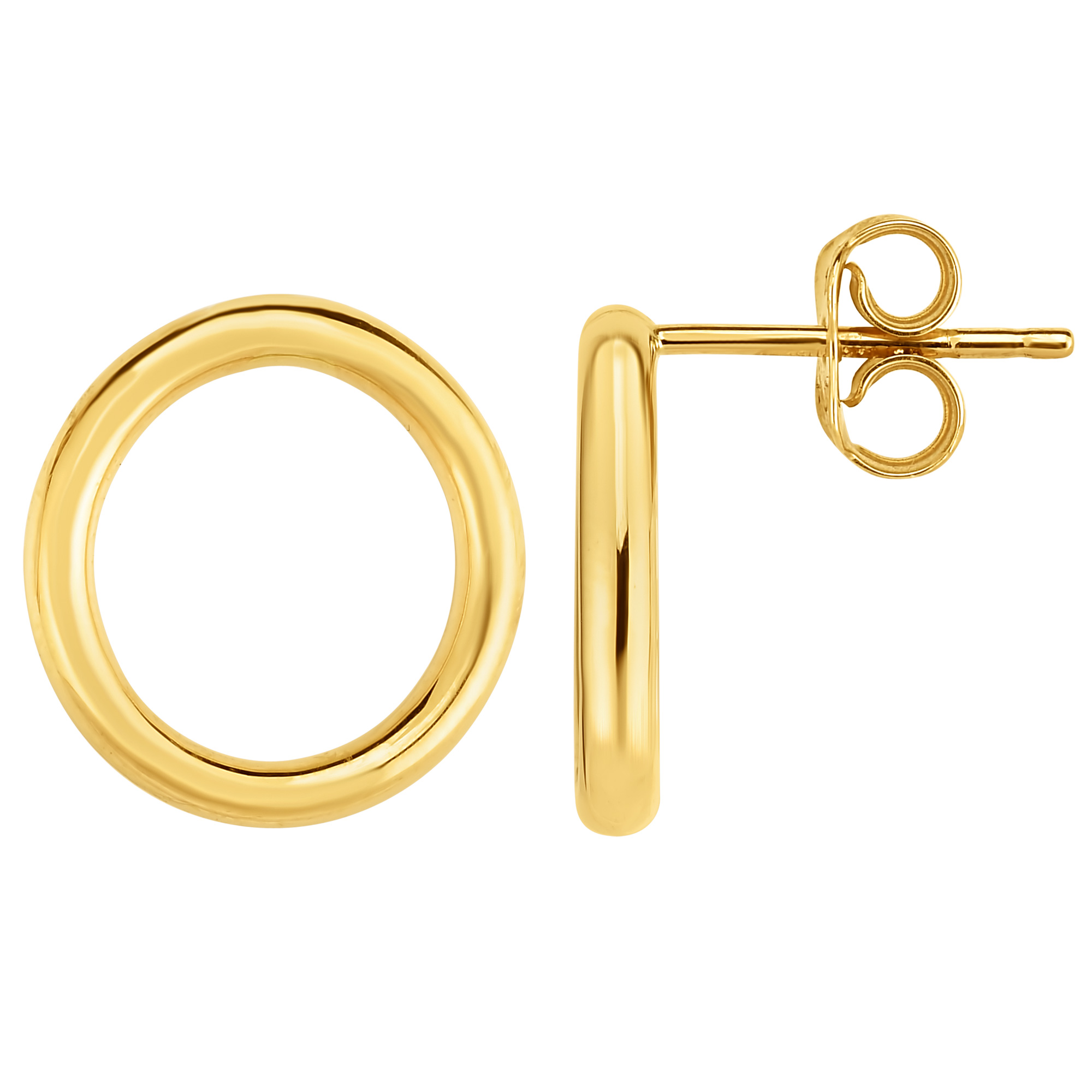 Jewelry Affairs 14k Gold Yellow Open Circle O Style Stud Earrings