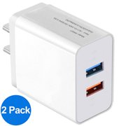 USB Wall Charger Adapter 1A/5V 2-Pack Travel Dual USB Charging Block Brick Charger Power Adapter Cube Compatible with Phone Xs/XS Max/X/8/7/6 Plus, Galaxy S9/S8/S8 Plus, Moto, Kindle, LG, HTC, Google