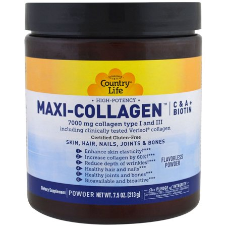 Country Life  Maxi-Collagen  C   A plus Biotin  High Potency  Flavorless Powder  7 5 oz  213