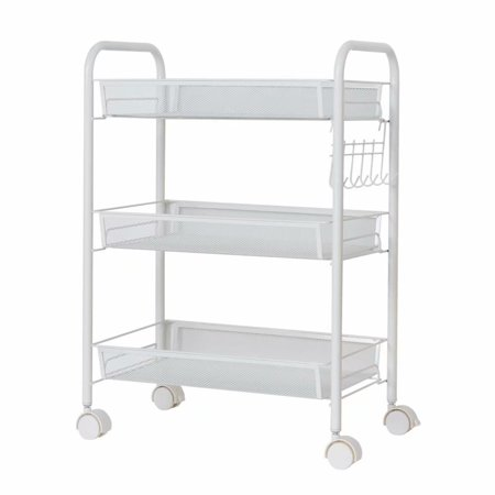 3-Tier Utility Rolling Cart with Large Storage and Metal Wheels for Office,Kitchen,Bedroom,Bathroom,Ivory White