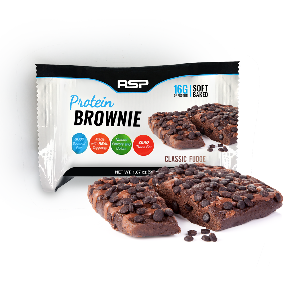 RSP Nutrition Protein Brownie On-The-Go Snack, Whey Protein, Gluten Free, Healthy Snack, Classic Fudge, 12 Pk
